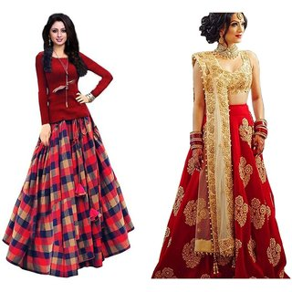 Pack of 2 Multicolor Silk Printed Lehenga Choli Semi Stitched by V-Karan