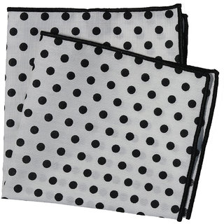 69th Avenue White Cotton Polka Dot Printed Pocket Square for Men