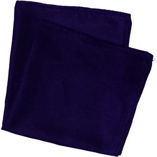 69th Avenue Solid Navy Blue Satin Free Size Casual Pocket Square for Men