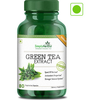 Simply Herbal Green Tea Extract 100 Natural Potent 500 Mg Veg Capsules - 80 Count (Pack of 3)