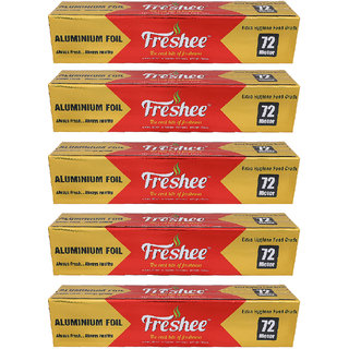 Freshee 72 mtrs 10.5 microns thick Aluminium Kitchen Foil Roll Pack of 5 for Multipurpose use with High Quality Standard