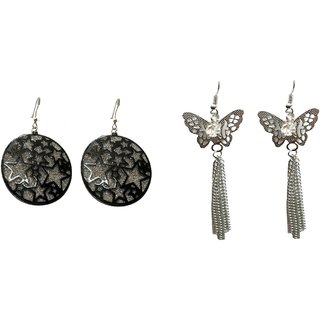 A&H Earring For Girls  Womens Stylish Modern Traditional Combo of 2 pcs Latest Fancy Earring - Black & Silver color ( 2 Pcs )