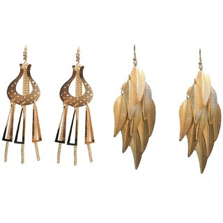 A&H Earring For Girls  Womens Stylish Modern Traditional Combo of 2 pcs Latest Fancy Earring - Gold color ( 2 Pcs )