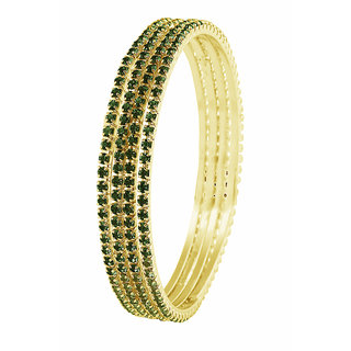 JewelMaze Green Austrian Stone Gold Plated Set Of 4 Bangles -1401615