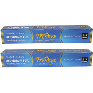 Freshee 11 mtrs 14 microns thick Aluminium Kitchen Foil Roll Pack of 2 for Multipurpose use with High Quality Standards