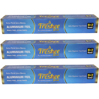 Freshee 11 mtrs 14 microns thick Aluminium Kitchen Foil Roll Pack of 3 for Multipurpose use with High Quality Standards