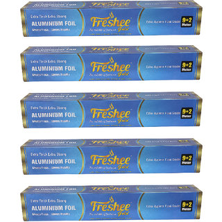 Freshee 11 mtrs 14 microns thick Aluminium Kitchen Foil Roll Pack of 5 for Multipurpose use with High Quality Standards