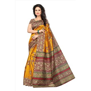SOFTIEONS E-COMMERCE Women's Multicolor Floral Art Silk Saree With Blouse