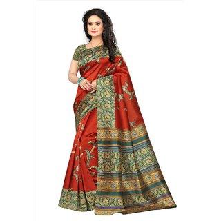 SOFTIEONS E-COMMERCE Women's Multicolor Floral Art Silk Saree With Blouse