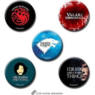 Game of Thrones | Fridge Magnet + Pin Badge | Set of 5