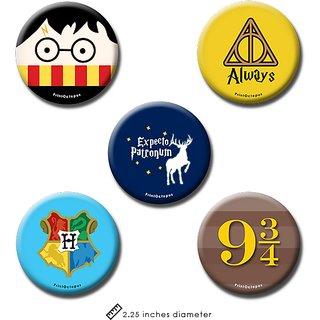 Harry Potter | Fridge Magnet + Pin Badge | Set of 5