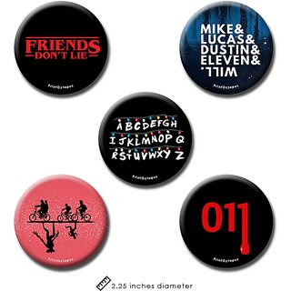 Stranger Things | Fridge Magnet + Pin Badge | Set of 5