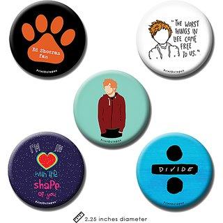 Ed Sheeran | Fridge Magnet + Pin Badge | Set of 5