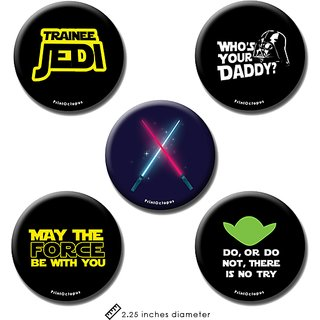 Star Wars | Fridge Magnet + Pin Badge | Set of 5