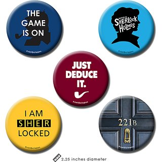Sherlock | Fridge Magnet + Pin Badge | Set of 5
