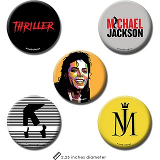 Michael jackson | Fridge Magnet + Pin Badge | Set of 5