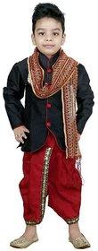Digimart Black Dhoti Kurta For Boys With Duppata