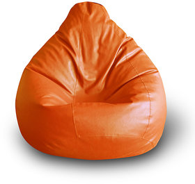 Style Homez Classic Bean Bag XXL Size Orange Color Filled with Beans Fillers