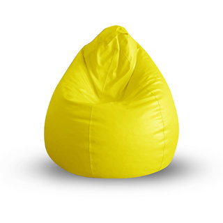 Style Homez Classic Bean Bag XL Size Yellow Color Filled with Beans Fillers Bean Bags