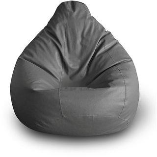 Style Homez Classic XXL Bean Bag Cover Grey Color, Premium Leatherette