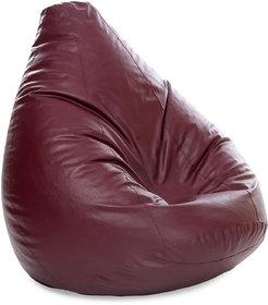 Style Homez Classic Jumbo SAC Bean Bag Cover Maroon Color, Premium Leatherette