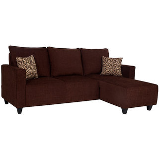 houzzcraft walden L shape sofa brown