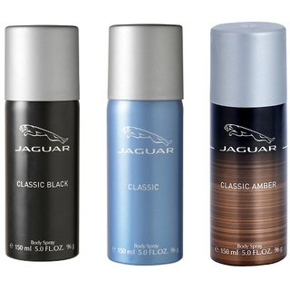 b948923d3 Buy Jaguar Classic Black Blue and Amber Deodorant 150ML Each Pack of 3  Online   ₹1197 from ShopClues