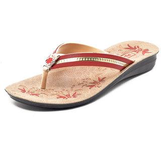 Gymsym women casual sandal(V SHAPE HEEL RED GOLDEN)