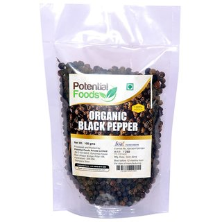 Potential Foods Organic Black Pepper Kali Mirch Whole 100 gm