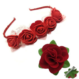 GadinFashion Pack of Red Rose Hair Band/ Tiara Designed and Fabric Red Rose Flower Hair Clip  Hair Accessories for Girls/Women