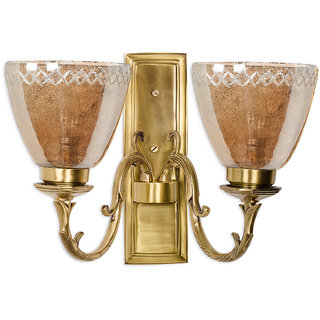 Fos Lighting Rectangular Brass with Lustrous Glass Double Wall Sconce
