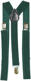 69th Avenue Solid Green Polyester Elastine Y Type Suspender for Men