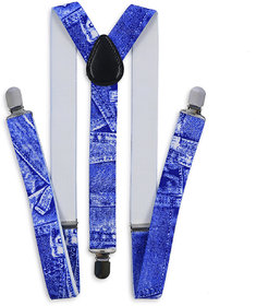 69th Avenue Blue Polyester Elastine Denim Texture Y Type Suspender for Men