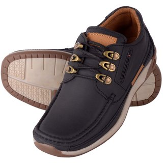 buy swazile men black pure leather casual shoes online