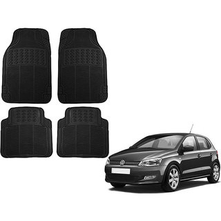 Auto Addict Car Simple Rubber Black Mats Set of 4Pcs For Volkswagen Polo