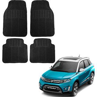 Auto Addict Car Simple Rubber Black Mats Set of 4Pcs For Maruti Suzuki Vitara Brezza