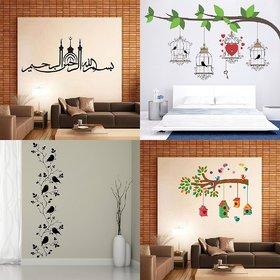 Eja Art Set of 4 Multicolor Wall Sticker Bird House On A Branch Bird Vine Birdcase With Key Bismillaherahmanerahim Material - Vinyl