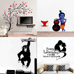 Eja Art Set of 4 Multicolor Wall Sticker Magical Tree Makhanchor Love Story Lutung-Material  Vinyl