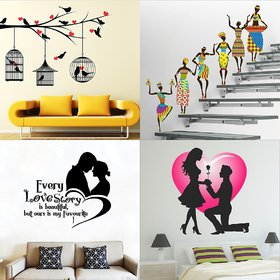 Eja Art Set of 4 Multicolor Wall Sticker Love Birds With Hearts|Tribal Lady|Love Story|Valentine My Love Old Material - Vinyl
