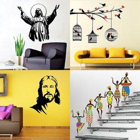 Eja Art Set of 4 Multicolor Wall Sticker Jesus Christ Jesus Christ New Love Birds With Hearts Tribal Lady Material - Vinyl