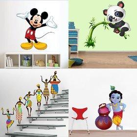 Eja Art Set of 4 Multicolor Wall Sticker Cute Mickey Mouse Cute Panda On Tree Tribal Lady Cute Bal Krishna Makhan Chor Material - Vinyl