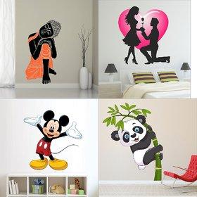 Eja Art Set of 4 Multicolor Wall Sticker Sleeping Buddha Valentine My Love Old Cute Mickey Mouse Baby Panda Material - Vinyl