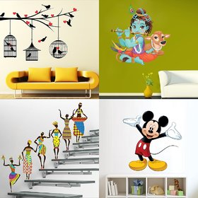 Eja Art Set of 4 Multicolor Wall Sticker Love Birds With Hearts Lord Krishna Flute Playing With Cow Tribal Lady Cute Mickey Mouse Material - Vinyl