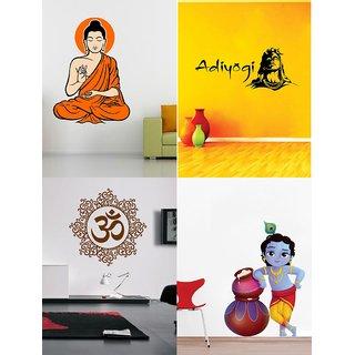Eja Art Set of 4 Multicolor Wall Sticker Yogi Buddha Cute Bal Krishna Makhan Chor Adiyogi Designer Om - Material Vinyl