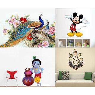 Eja Art Set of 4 Multicolor Wall Sticker Royal Peacock|Cute Mickey Mouse|Cute Bal Krishna Makhan Chor|Royal Ganesh Material - Vinyl