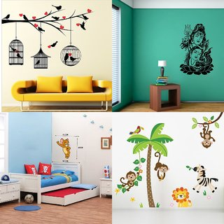 Eja Art Set of 4 Multicolor Wall Sticker Love Birds With Hearts|Cute Mouse|Shiv Parwati|Jungle - Material  Vinyl