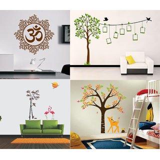 Eja Art Pack of 4 Multicolor Wall Sticker Viny Material Om Design, Elegant Orange Deer, Flamingos And Tree, Family Tree