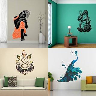 Eja Art Set of 4 Multicolor Wall Sticker Sleeping Buddha|Modern Peacock|Shiv Parwati|Royal Ganesh - Material  Vinyl