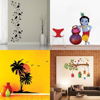 Eja Art Set of 4 Multicolor Wall Sticker Bird Vine|Cute Bal Krishna Makhan Chor|Beach With Sunset|Bird House On A Branch Material - Vinyl