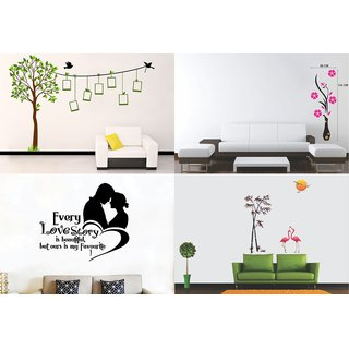 Eja Art Set of 4 Multicolor Wall Sticker  Family Tree|flamingos And Bamboo|flower Vase Magenta|love Story Material - Vinyl